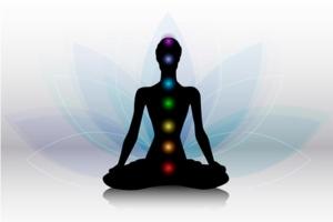 grafisk illustration af 7 chakraer på en krop i meditationsstilling