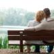 kærestepar sidder tæt sammen på en bænk og kigger udover en sø